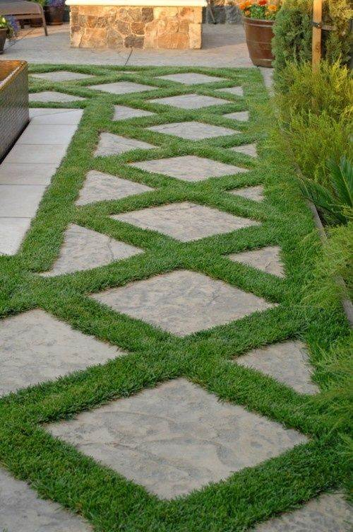 Grass Tiles Stone Tiles  Modern Landscape Design Ideas