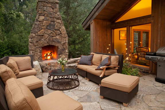 fireplace in landscaping